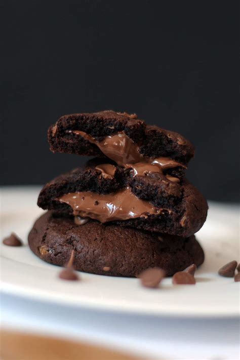 Nutella Stuffed Double Chocolate Cookies Recipe | Melting
