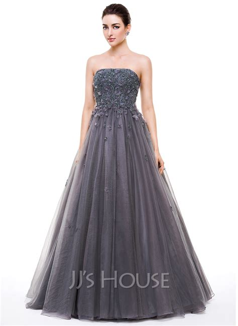Ball-Gown Strapless Floor-Length Tulle Prom Dress With