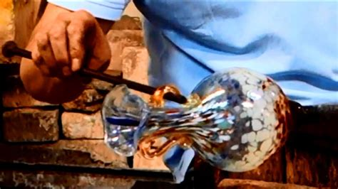 Murano Glass Blowing of a Flower Vase with 2 handles - YouTube