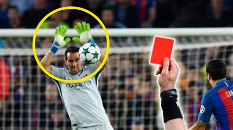 Top 10 Goalkeeper get Red Card for Handball - YouTube