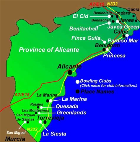 Bowls Map Alicante see where Cubs are situated | Spain Info