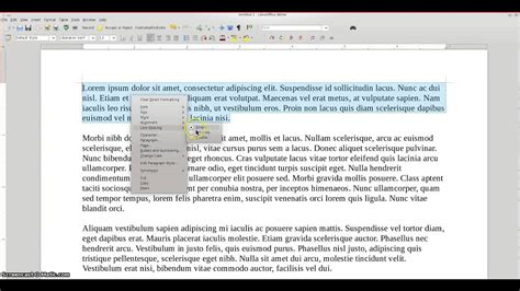 LibreOffice 4 - HOW TO: double space text - YouTube