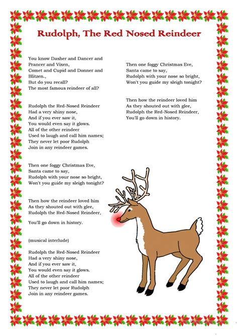 Rudolph, The Red Nosed Reindeer - English ESL Worksheets